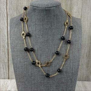 J. Crew Beaded Gold Black Chain Necklace